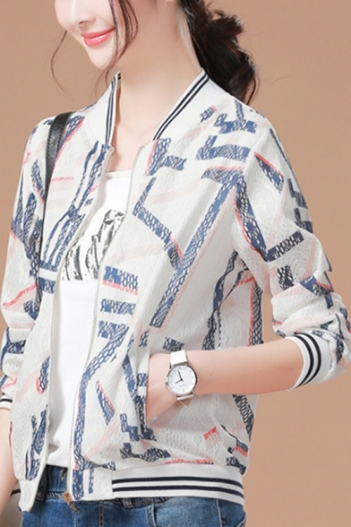 Womens Fashionable Geometric Print Standing Collar Casual Baseball Jacket