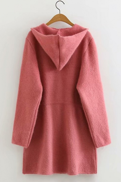 Womens New Fashion Simple Plain Drawstring Waist Long Sleeve Hooded Zip Up Longline Knitted Coat