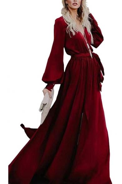Womens New Fashion V-Neck Long Sleeve Bow-Tied Waist Slit Plain A-Line Maxi Enevning Dress