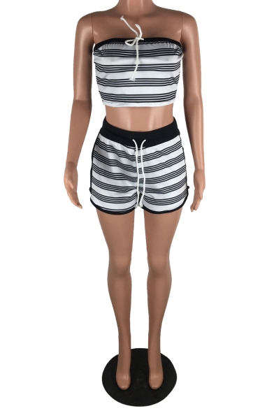 Womens Sexy Strapless Fashion Striped Printed Crop Top with Shorts Slim Bandeau Co-ords