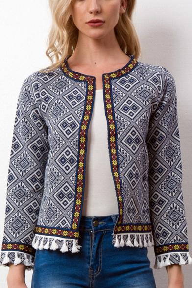 Womens Stylish Ethnic Style Tribal Printed Tassel Hem Open Front Cardigan Coat Jacket