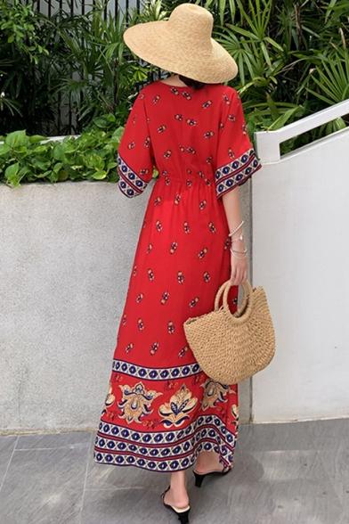Womens Summer Beach V-Neck Half Sleeve Floral Tribal Print Red A-Line Boho Maxi Dress