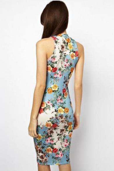 Womens Summer Vintage Round Neck Sleeveless Floral Print Sheath Midi Dress