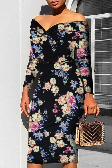 Womens Vintage Floral Pattern Off Shoulder Long Sleeve Midi Bodycon Dress