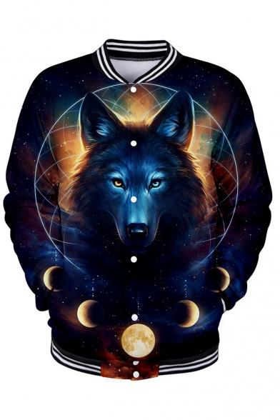 3D Wolf Starry Sky Galaxy Pattern Printed Single Breasted Long Sleeve Baseball Jacket