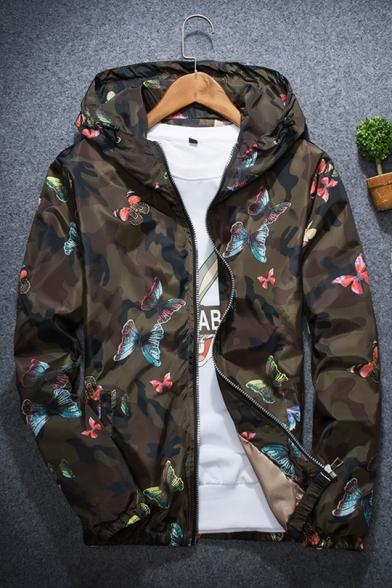 Camo Butterfly Print Long Sleeve Windproof Hooded Zipper Jacket