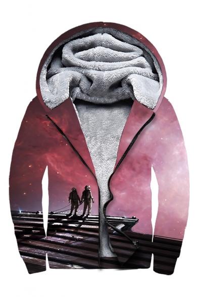 Character Sky Print Long Sleeve Zip Up Faux Fur Lined Hoodie