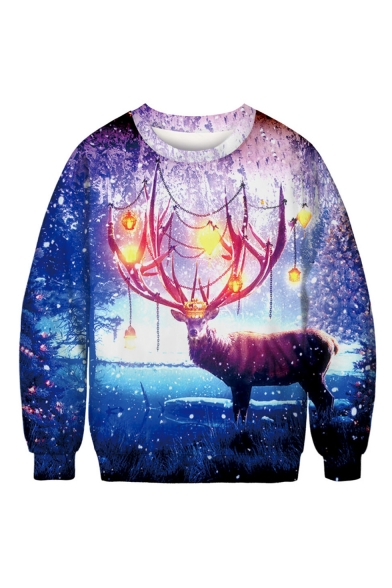 Christmas Popular Fashion Galaxy Elk 3D Printed Blue Long Sleeve Round Neck Pullover Sweatshirt