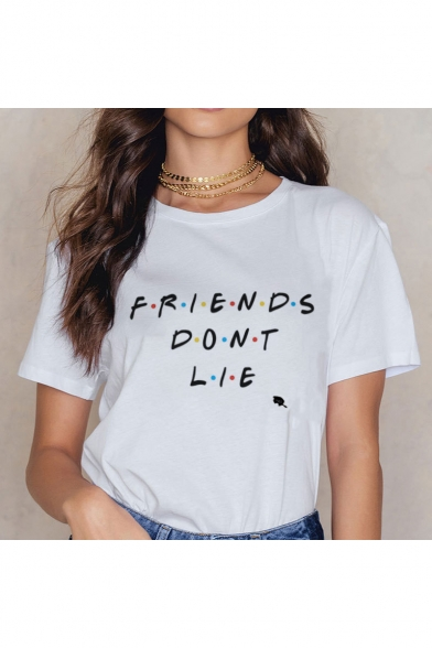 Crewneck Round Neck Letter FRIENDS DONT LIE Polka Dot Printed White Tee