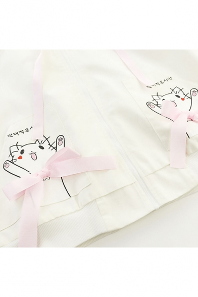Cute Embroidery Cat with Bow Contrast Panel Long Sleeve Hooded Zip Up Coat Jacket