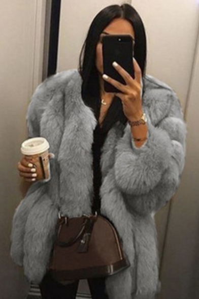 Elegant Womens Solid Color Long Sleeve Warm Thickened Faux Fur Overcoat