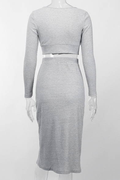 Fashion Long Sleeve V Neck T Shirt with High Waist Button Down Slit Front Midi Skirt Grey Sexy Two Piece Set