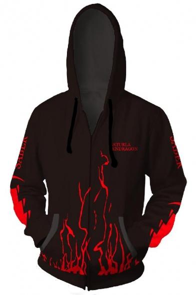Fate Trendy 3D Fire Pattern Long Sleeve Zip Up Casual Black Hoodie