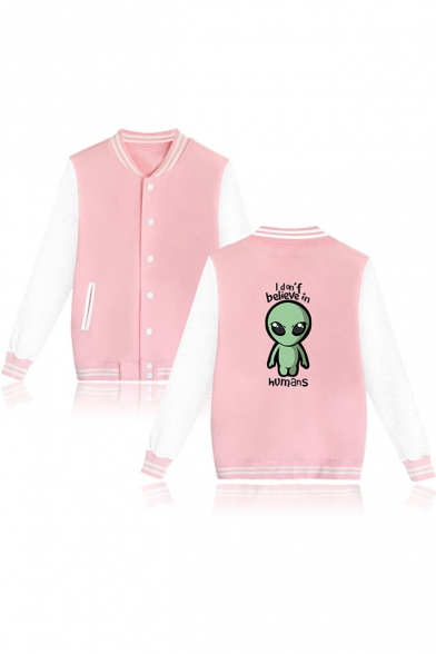 Funny Alien Letter I Don't Believe In Humans Printed Rib Stand Collar Button Down Baseball Jacket