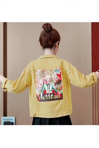 Girls Cartoon Character Printed Back Flap Pockets Cropped Jean Cargo Jacket Coat