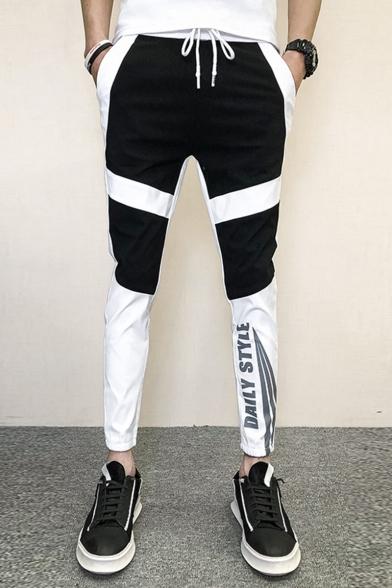 Guys Trendy Colorblock Letter Printed Drawstring Waist Casual Slim Sports Pencil Pants