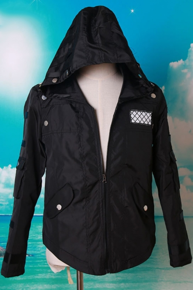 Hot Popular Game Cosplay Costume Mesh-Belt Panel Hooded Zip Up Trench Coat with Flap Pocket