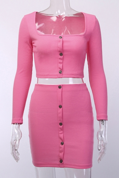Hot Popular Long Sleeve Umbilical Top with High Waist Mini Skirt Solid Color Button Down Slim Two Piece Set