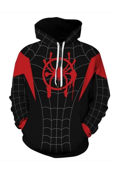 Hot Popular Spider Wed 3D Printed Long Sleeve Loose Fit Black Casual Cosplay Hoodie