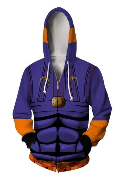 JoJo's Bizarre Adventure Comic Cosplay Costume Long Sleeve Purple Zip Up Hoodie