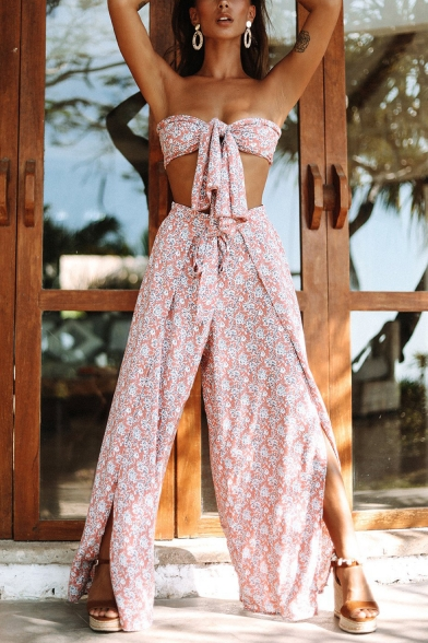 Knotted Front Bandeau Top with Tie Waist Slit Front Wide Leg Pants Abstract Printed Casual Loose Co-ords