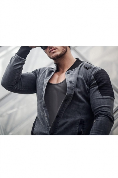Men's New Trendy Outdoor Button Closure Long Sleeve Print Patch Denim Casual Jacket