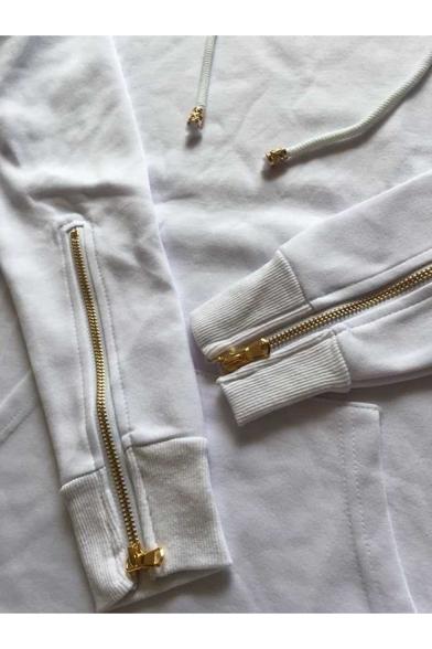 Mens Cool Fashion Simple Plain Zip Cuffs Long Sleeve Longline Pullover Hoodie