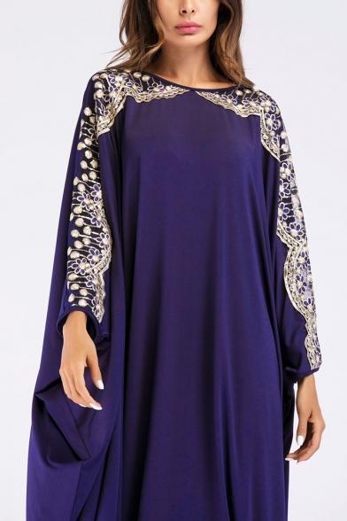 Moslem New Stylish Round Neck Batwing Sleeve White Appliques Loose Shift Maxi Dress