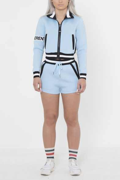 New Arrival Athletic Style Plain Front Zipper High Neck Long Sleeve Tops with Drawstring Shorts Two Piece Set