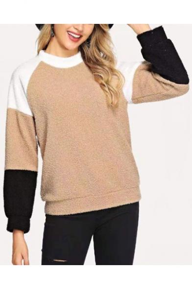 New Stylish Color Block Round Neck Long Sleeve Khaki Fluffy Sweatshirt