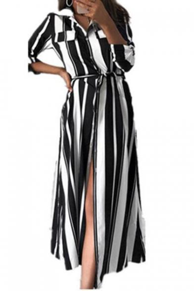 New Stylish Vertical Stripe Printed Long Sleeve Tied Waist Maxi Shirt Dress