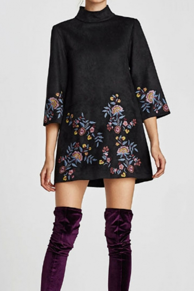 New Trendy High Neck Half Sleeve Floral Embroidery Print Zip Suede Shift Mini Dress