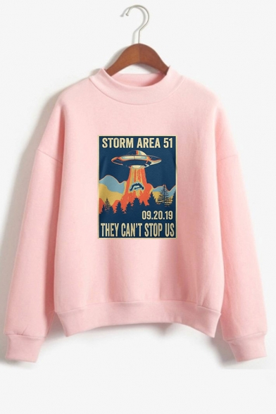 New Trendy UFO Letter Storm Area Printed Mock Neck Long Sleeve Pullover Sweatshirt