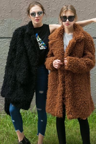 Plain Lapel Collar Long Sleeve Longline Tunic Faux Fur Coat