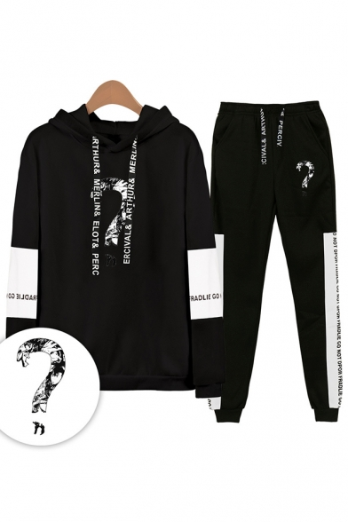 Popular Question Mark Letters Print Patterns Loose Long Sleeve Hoodie with Drawstring Sweatpants Co-ords, LM556311, Black;white;gray;navy
