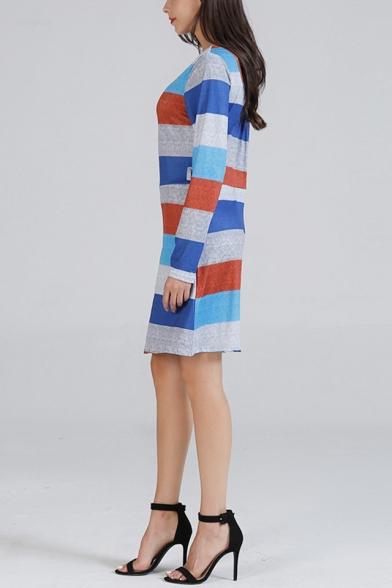 Stylish Stripe Pattern Round Neck Long Sleeve Mini Fitted T-Shirt Dress