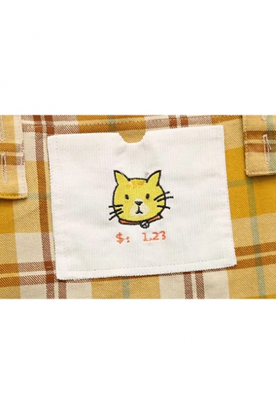 Summer Girls Cute Cartoon Cat Embroidery Check Pattern Mini Overall Dress