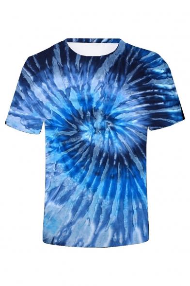 Summer New Stylish Short Sleeve Round Neck 3D Tie-dye Print T-Shirt For Men