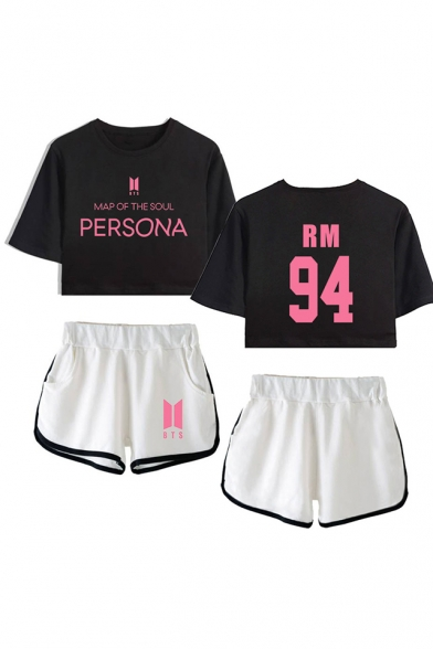 Trendy 94 Letters Print Patterns Short Sleeve Crop T-Shirt with Dolphin Shorts Co-ords for Girls