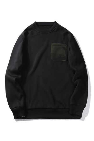 Trendy Camouflage Pocket Embellished Long Sleeve Round Neck Mens Casual Sports Sweatshirts