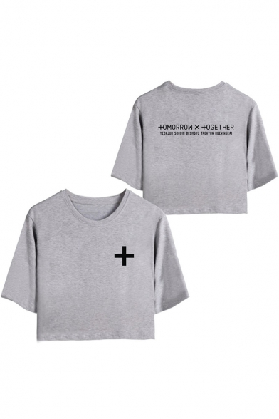 TXT Cool Simple Logo Printed Round Neck Short Sleeve Crop Tee for Women