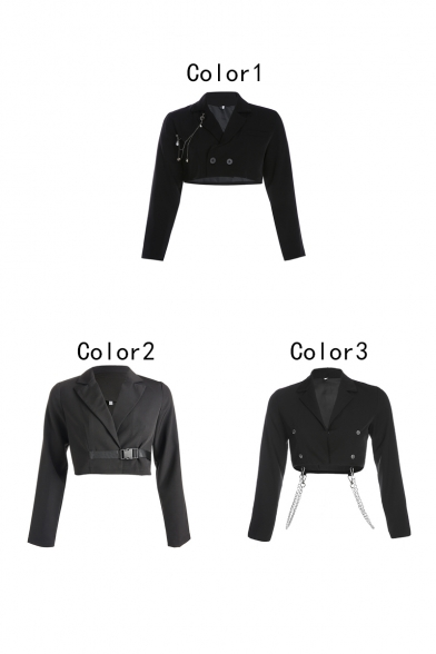 Vintage-inspired Long Sleeve Double-breasted Chest pockets Chain Pendant Cropped Blazer