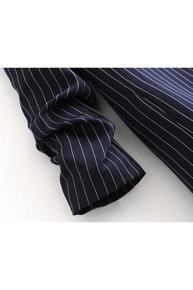 White Pinstripe Open Front Casual Navy Blazer for Women