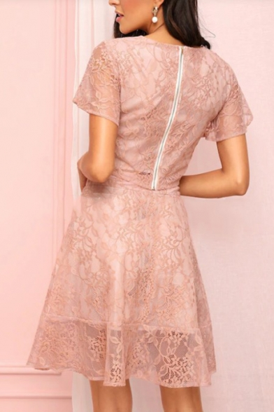 Women's Chic Pink V-Neck Short Sleeve Crop Top with A-Line Skirt Lace Two-Piece Set