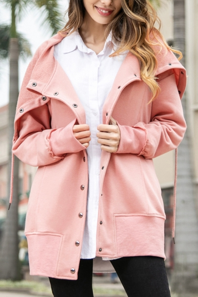 Women's Chic Solid Color Navy Collar Button Closure Casual Coat