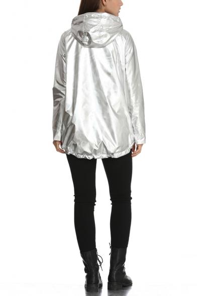 Womens Cool Unique Metallic Color Long Sleeve Waterproof Hooded Zip Up Coat