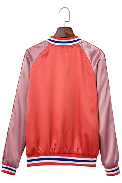 Womens Fashion Classic Red Colorblock Rib Stand Collar Button Down Baseball Jacket