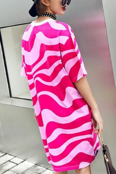 Womens Fashion Round Neck Half Sleeve Letter Cartoon Print Loose Cotton Casual Shift Midi Dress
