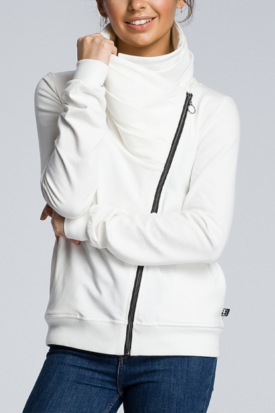 Womens Hot Trendy High Neck Plain Oblique Zip Up Fitted Sweatshirt Jacket