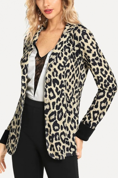 Womens New Stylish Leopard Printed Notched Lapel Collar Long Sleeve Button Down Blazer Jacket Coat